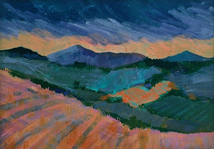 Fife Fields XII, 1996, acrylic on board, 8.5 x 12 cm