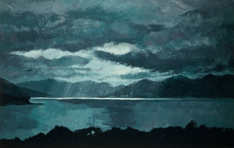 Isle Ornsay, 1997, acrylic on card, 12 x 20 cm