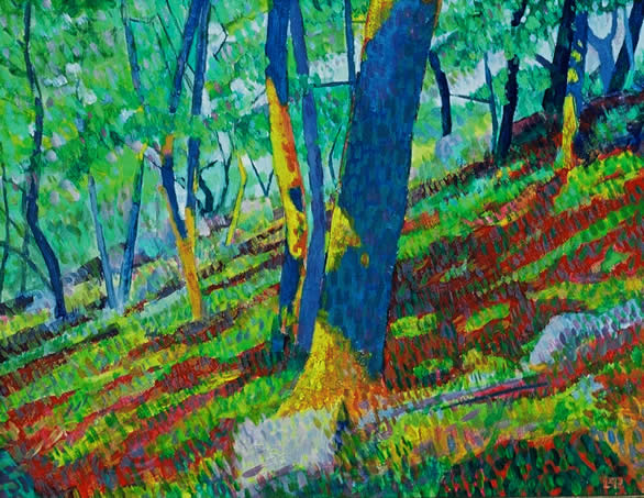 Oak Woods, 1992, acrylic on board, 18 x 24 cm