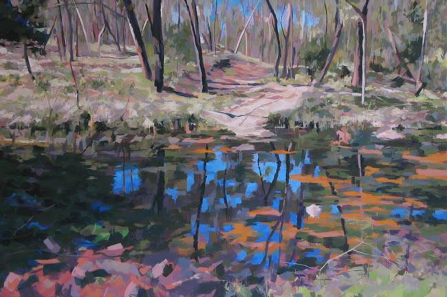 O'Brien's Crossing, acrylic on linen, 2008, 82 x 130 cm