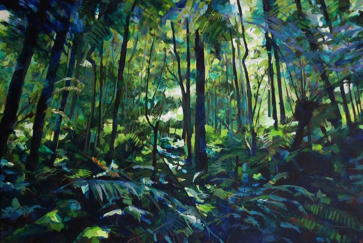 Otways III (Ascending), 2007, acrylic on linen, 82 x 120 cm