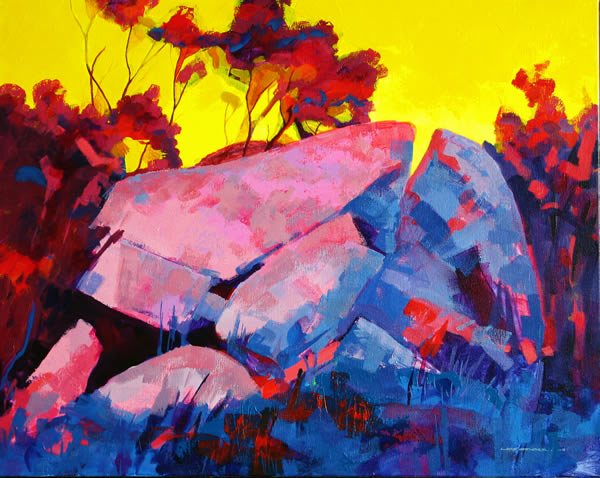 Rock of Ages, 2009, acrylic on linen, 48 x 62 cm