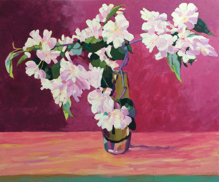 Apple Blossom, 2014, Acrylic on linen, 40 x 50 cm