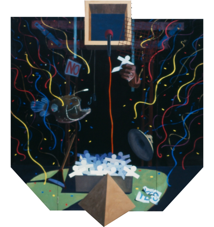 Election Day, 1989, oil and gold leaf on masonite, 210 x 210 cm approx