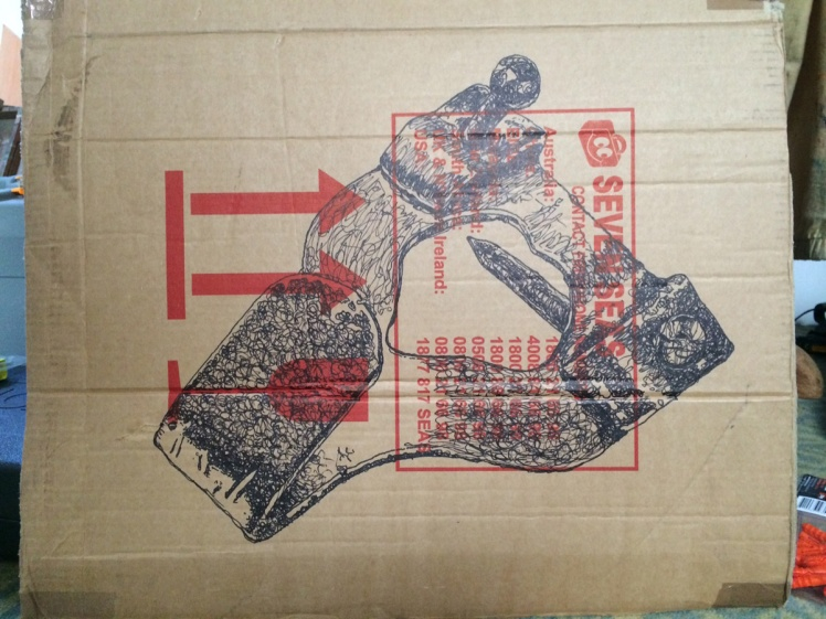 Diaspora (I packed this myself), 2014, sharpie on packing case, 47 x 63 cm