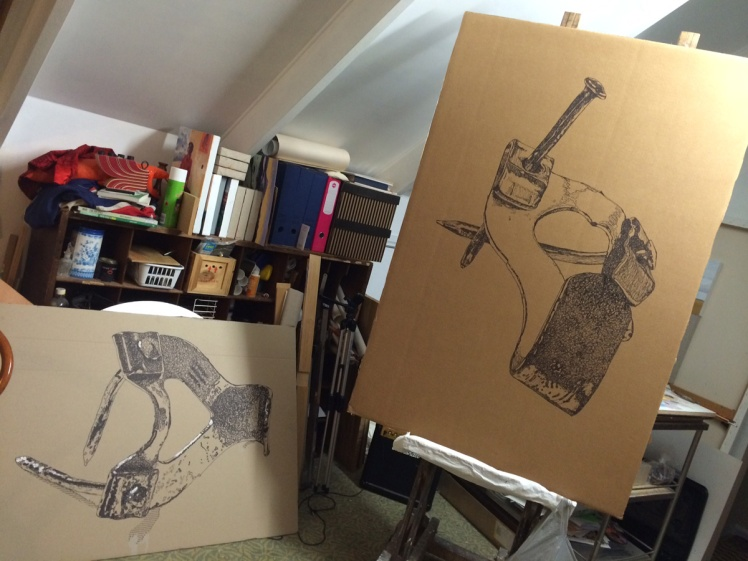 L-R Untitled (Hook 1), 2014, sharpie on packing case, 68 x 100 cm. Middle Class Hero, 2014, 120 x 85 cm