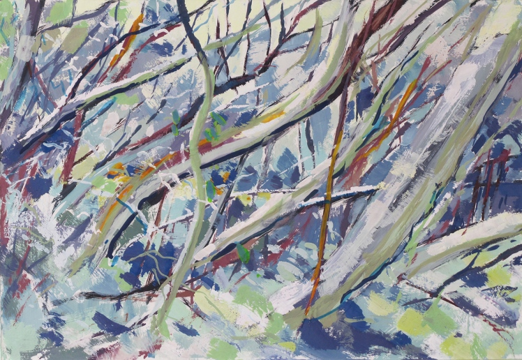 Snow on Mt Buller, 2013, gouache on cardboard, 12 x 30 cm