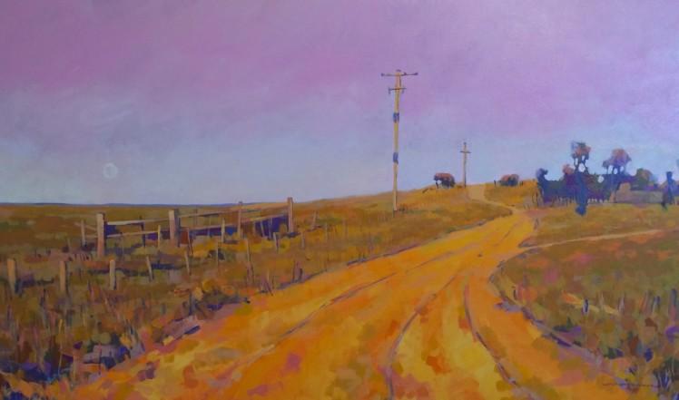 Moon Road, 2014, acrylic on linen, 62 x 102 cm