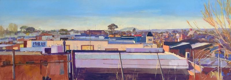Looking East From Camp Street (Winter), 2015, acrylic and pen on board, 38 x 120 cm