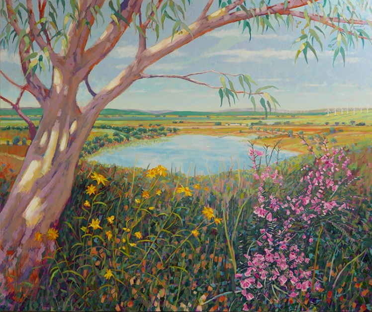Untitled (WARM Landscape with Lake), 2015, acrylic on linen, 150 x 180cm