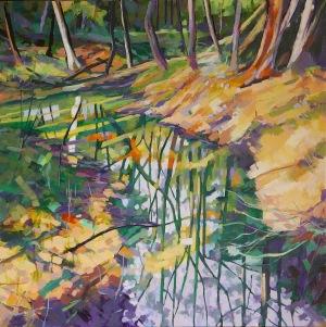 A Bigger Flood, 2017, acrylic on linen, 102cm x 102 cm, $4875